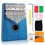 Piano de pulgar de 17 teclas Kalimba, Yofuly de madera de caoba de alta calidad, con funda portátil y protección para el pulgar para los principiantes amantes de la música (azul)