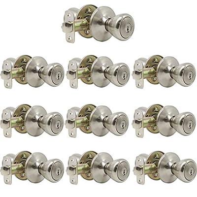 10 Pack Probrico Interior Bedroom Entrance Door Knobs Door Lever Handle One Keyway Entry Keyed Alike Same Key Door Lock Lockset in Satin Nickel