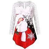 Pull de Noel Femme irrégulier Grande Taille,Koly Christmas Pullover Tops Hiver T-Shirt Femmes...