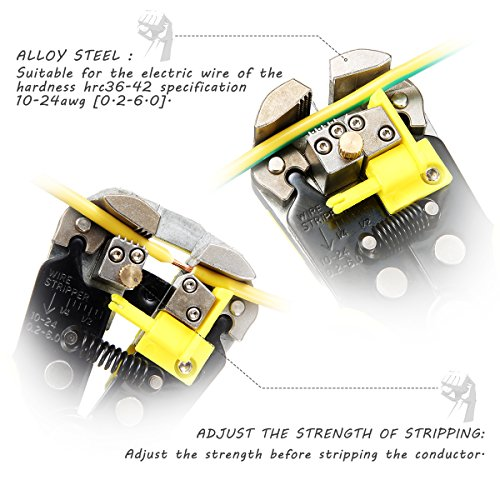 『Drillpro 自動ワイヤーストリッパー オートマルチストリッパ ストリップ線径自動調整 絶縁 0.2~6.0mm2 黄色』の4枚目の画像