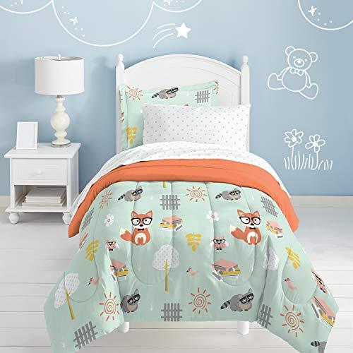 dream FACTORY Kids 5-Piece Complete Set Easy-Wash Super Soft Microfiber Comforter Bedding, Twin, Green Woodland Friends