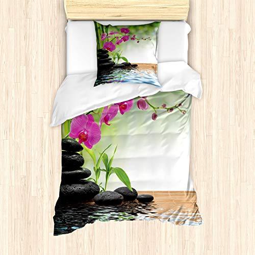 ABAKUHAUS Spa Bettbezug Set für Einzelbetten, Bambus-Baum-Orchideen-Steine, Milbensicher Allergiker geeignet mit Kissenbezug, Fuchsia Charcoal Grey Limonen Green