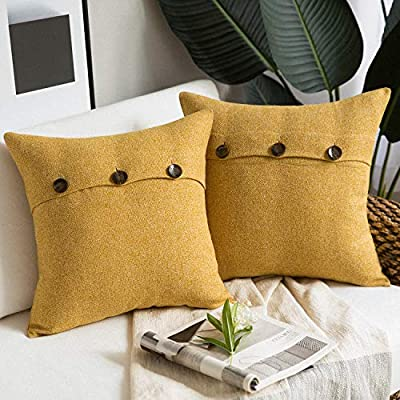 Phantoscope Farmhouse Throw Pillow Covers Triple Button Vintage Linen Decorative Pillow Cases for Couch Bed and Chair Yellow, 18 x 18 inches 45 x 45 cm, Pack of 2