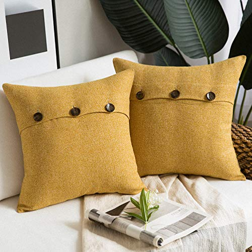 Phantoscope Farmhouse Throw Pillow Covers Triple Button Vintage Linen Decorative Pillow Cases for Couch Bed and Chair Yellow, 22 x 22 inches 55 x 55 cm, Pack of 2