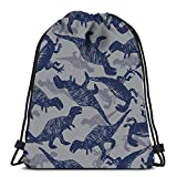 Axtuxdell Drawstring Backpack Bags Dinosaur Bigger Meat Eaters Sketch Repeat Portable Shou