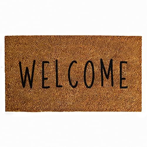 Felpudo de bienvenida de 76,2 x 41,7 cm, grueso tapete de bienvenida para exteriores, rústico para puerta delantera, alfombrilla de...