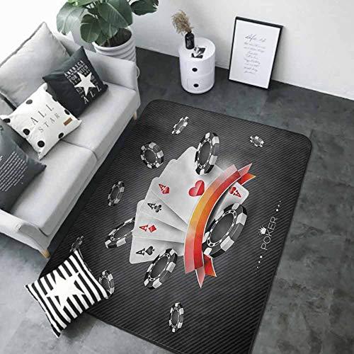 """Bath Mat Set Kitchen Door Poker Tournament,Spread of Chips 48""""x 72"""" Best Floor mats"""