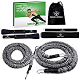 SMASH SPEED Resistance Running Exercise Bungee Bands (Waist) - Set of 2 - Agility, Gym, Fitness, Basketball and Soccer Training Equipment - 4 and 8 Ft, 80 Lb Strength - with Workout Guide