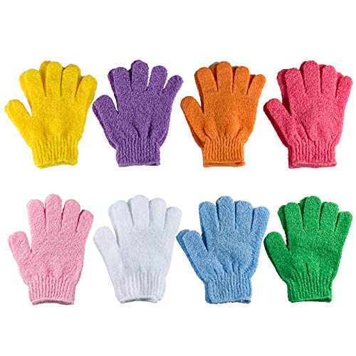 8 Pairs Exfoliating Bath Gloves Double Sided Exfoliating Gloves Exfoliating Bath Gloves