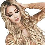 Femmes Blonde Perruques Bresiliennes Cheveux Naturels Beau Sexy Mode Pas Cher Long Curly Postiches BoucléS Pour Party (Or)