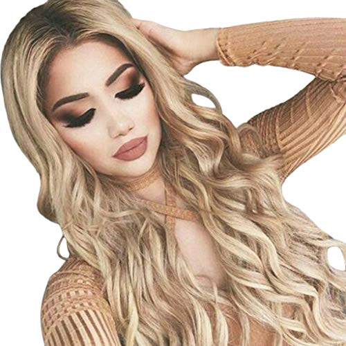ClearanceWomen's Lace Front Wigs, Ladies Gold Sexy Long Curly Middle...