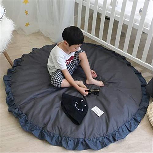 Hava Kolari Kinderteppich, Krabbeldecke Krabbeln Mat Spieldecke Runde Teppich Kriechmatte Dekoration für Kinderzimmer (Dunkelgrau)