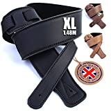 British Handmade Real Leather Guitar Strap: Finest Ultra Soft Italian Nappa Leather, 148cm long Foam Cushion Padded Guitar Belt - Suits Electric, Bass or Acoustic Instruments (inc Semi/Electro)
