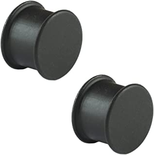 Pair of Black Silicone Solid Front Plugs
