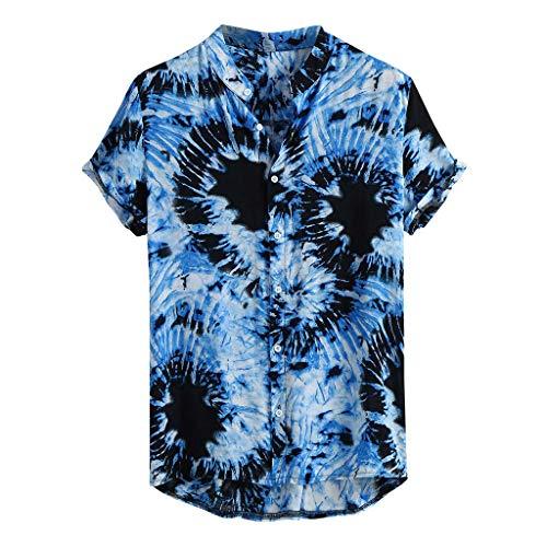 Xmiral Camicie per Uomo Manica Corta Hawaiana Regular Fit Floreale Multi Color Petto Petto Petto Manica Corta Tondo Camicetta Allentata Camicetta (3XL,65- Blu)