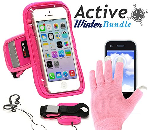 Navitech wasserdicht Pink Sport / Fitness / Jogging / Radfahren / Skifahren Armband Tasche Oberarmtasche Schutz Hülle Etui Case mit rosaroten Touchscreen Handschuhen für das Sony Xperia Z3 Compact / Sony Xperia Z1 Compact