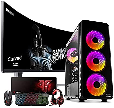 Megamania PC Gaming AMD Ryzen 7 2700 (8 Núcleos up to 4,1Ghz) | 16GB DDR4 | SSD 480GB + 1TB HDD Esclavo | Nvidia GeForce GTX 1660 6GB | WiFi + Monitor LED Curvo 24