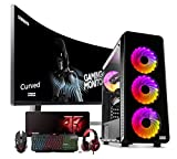 Megamania PC Gaming AMD Ryzen 7 2700 (8 Núcleos up to 4,1Ghz) | 16GB DDR4 | SSD 480GB + 1TB HDD Esclavo | Radeon RX580 8GB | WiFi + Monitor LED Curvo 24' + Kit Gaming