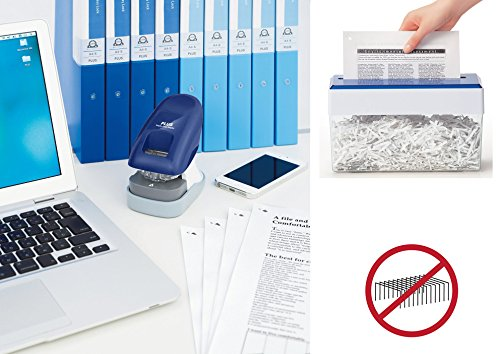 PLUS Japan, Staple-Free Stapler Desktop Model Blue, 10 sheet capacity, 1 piece pack (1 x 1 Stapler)
