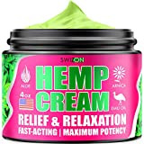 Natural Hemp Cream - Effective Recovery for Sore Muscules, Joints, Back, Knees, Elbows - Premium Hemp Oil Extract with Arnica, Emu Oil, Msm, Aloe Vera - Maximum Strength - Made in USA, 4 oz