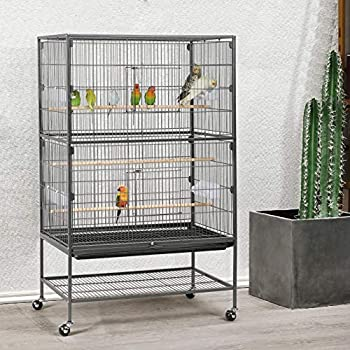 Yaheetech Grande Volière Cage Oiseaux sur roulettes Canaries Perroquet Perruches Cacatoès Ara 2 Étages avec Support 79 x 52 x 132 cm