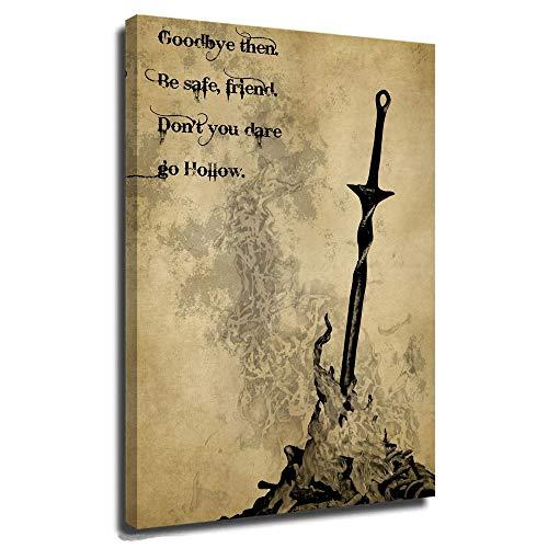 DRAGON VINES Dark Souls Bonfire Poster auf Leinwand, gerahmt, aufhängfertig, Boot Hill You Died Hollow Bonfire Dark Souls, 40,6 x 61 cm