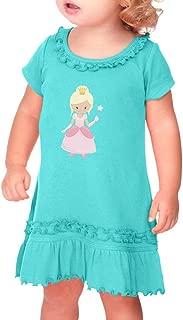 Oz Glinda Taped Neck Toddler Short Sleeve Girl Ruffle Cotton Sunflower Dress