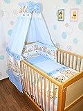 Baby Bettset -6 tlg- mit Bettwäsche Nestchen Vollstoff Himmel Bettausstattung