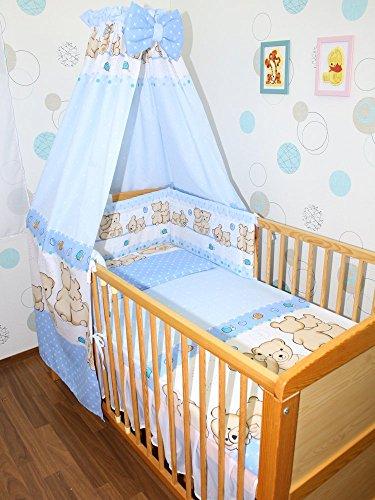 Baby Bettset -6 tlg- mit Bettwäsche Nestchen Vollstoff Himmel Bettausstattung D2
