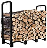 Artibear 4ft Outdoor Firewood Rack, Upgraded Adjustable Heavy Duty Logs Stand Stacker Holder for Fireplace - Metal Lumber Storage Carrier Organizer, Bright Black