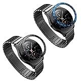 ATiC Samsung Galaxy Watch 42mm ベゼルリング Gear S2/Gear sport ベゼルカバー 保護ケース スタイルリング 高級 ステンレス製 耐衝撃 超簿 粘着式 取付簡単 スマートウォッチ飾り 2pack Black(white)+Blue(white)