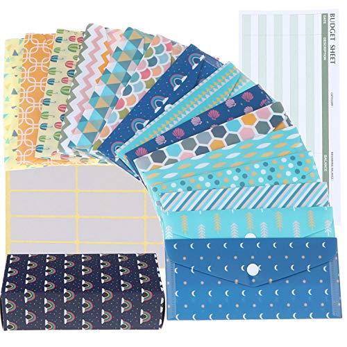 31 Pieces Cash Envelopes System for Budgeting Envelopes Waterproof Budget Envelopes 15 Patterns Budget Money Envelopes, 15 Pieces Expense Budget Sheets with 24 Pieces Labels for Saving Money