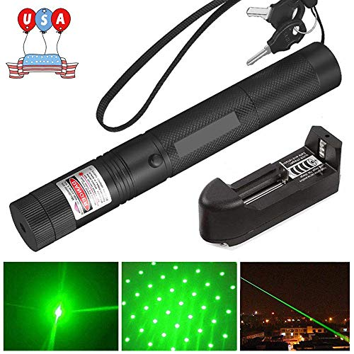 Green Light Pointer High Power Visible Beam with Adjustable Focus for Pointing Sky/Star/Hunting/Hiking, Green Pointer Actical Hunting Sight Outdoor Recreational Camping Hiking Hand Held Flashlight