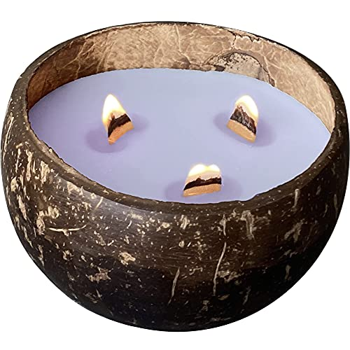 Wooden Wick Candles in Coconut Shell - Scented Candle for Home Decor - Soy Coconut Candles -...