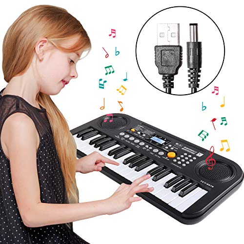 TWFRIC Kids Piano Keyboard 37 Key Music Keyboard Piano with LCD Screen Display, Portable Electronic Keyboard Piano Music Educational Toy for Boys Girls Child