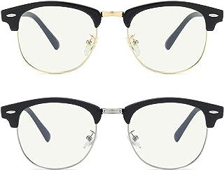 MOGS Blue Light Blocking Glasses Men, Retro Half Frame Computer/Phone/TV Screen Gaming Glasses, UV Protection Stylish Non-...