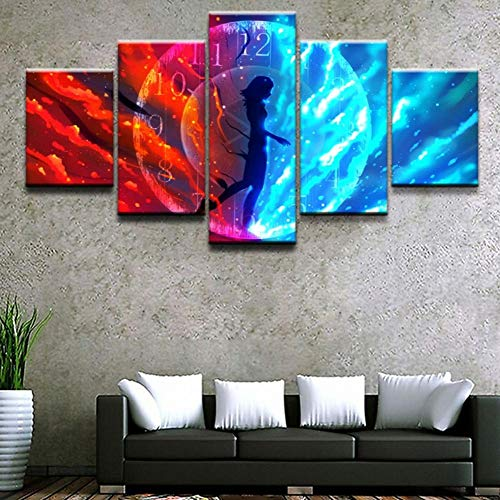 ZJZNB canvasdruk, 5 panelen, samenvatting, tijdschema voor meisjes, woonkamer, woonkamer, woonkamer, decoratie Size 3 B