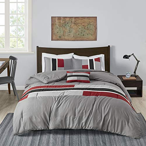 Mi-Zone Pipeline Printed Comforter Set, Twin/Twin XL, Red/Grey