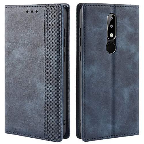 HualuBro Handyhülle für Nokia 5.1 Plus Hülle, Retro Leder Brieftasche Tasche Schutzhülle Handytasche LederHülle Flip Hülle Cover für Nokia 5.1 Plus - Blau