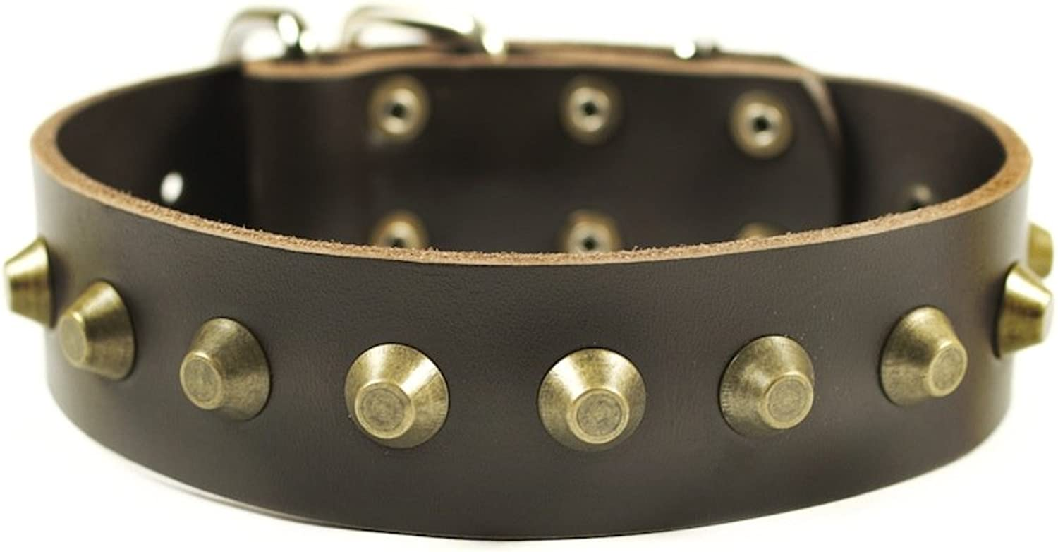 Dean and Tyler  SIMPLY STUNNING  Dog Collar  Nickel Hardware  Brown  Size 41cm x 4cm Width. Fits neck size 14 Inches to 18 Inches.