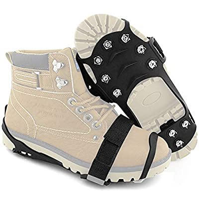 Ice Cleats, Anti Slip Stainless Steel Durable Silicone Traction Cleats, Ice Snow Grips Crampons Ice Spikers Grippers for Walking, Jogging, Hiking (-M:(US Women:5-8/MEN:5-7)/ (EU 35-40))