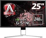 AOC Agon AG251FG 63 cm (25 Zoll) Monitor (HDMI, USB Hub, Displayport, 1ms Reaktionszeit, 240 Hz, 1920x1080, Nvidia G-Sync) schwarz/rot