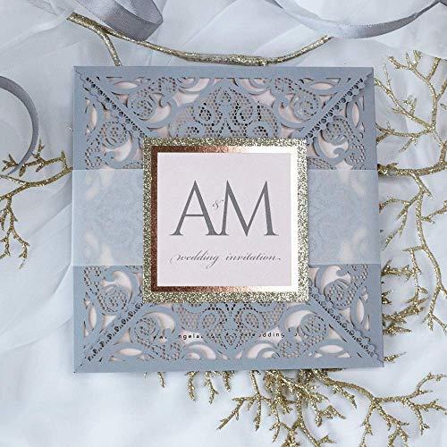Lasergeschnittene Hochzeit vintage Geburtstag Taufe Einladungskarten (Probe - Sample) DIY mit graue Spitze