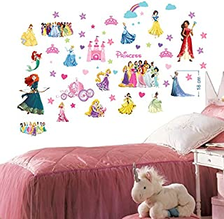 Disney Princesses Wall Stickers for Girls Bedroom Mural Wall Decal Art Wallpaper Stickers for Nursery Wall Art Playroom Girls Disney Princesses Wall Decals Decoracion Size 70cm x 35cm x