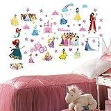 Princesas Disney Pegatinas de pared para el dormitorio Niños y niñas Mural Tatuajes de pared 70 cm x 35 cm x 2