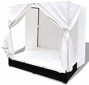Festnight Outdoor Patio Garden Chaise Lounges with Curtains Poly Rattan