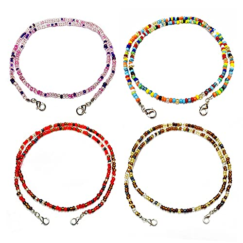 Zeaye - 4 piezas de cadenas para gafas con cuentas, soporte para correa para gafas, collar, correa para ojos, para hombres, mujeres, niñas, niños, ancianos (Coral Peacock Golden Dawn Red Brown)