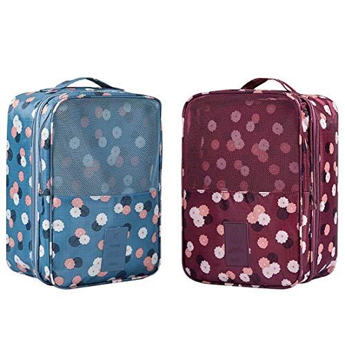 Travel Shoe Bags, Shoe Storage Pouches Hold 3 Pairs of Shoes for Travel and Daily Use (2 Pack, Flower)