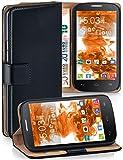 MoEx Funda Cartera [protección 360°] Compatible con Alcatel One Touch Pop C9 | Cierre magnético, Noir