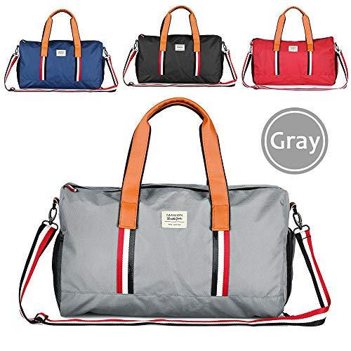 Hotrose Sporttasche Handgepäck mit Schuhfach Trainingstasche Fitnesstasche Gym-Tasche Sporttasche hochwertige Reisetasche Groß Schultergurt Herren und Damen Grau